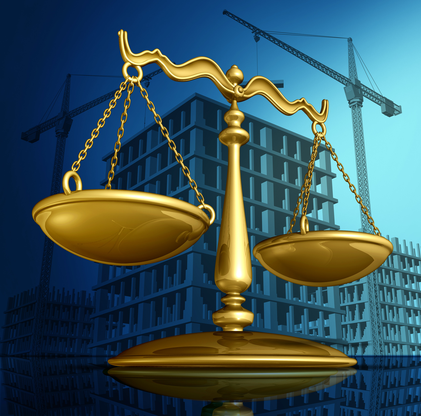 Construction law concept as a justice scale over a working building site with cranes and a structure being built as a concept for architecture permits and real estate regulations.